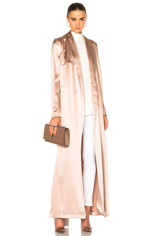 Image 1 of GALVAN Silk Trench Coat in Blush