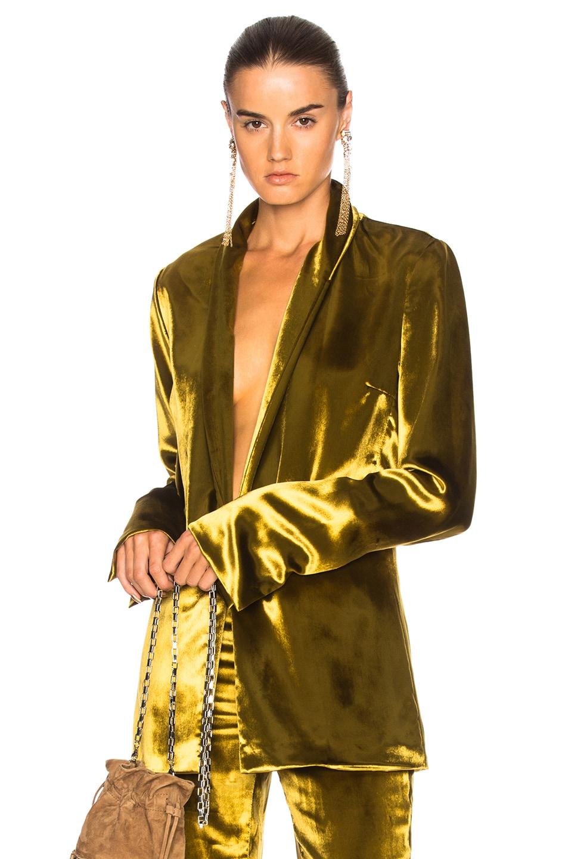 Image 1 of GALVAN Panne Velvet Blazer in Mustard