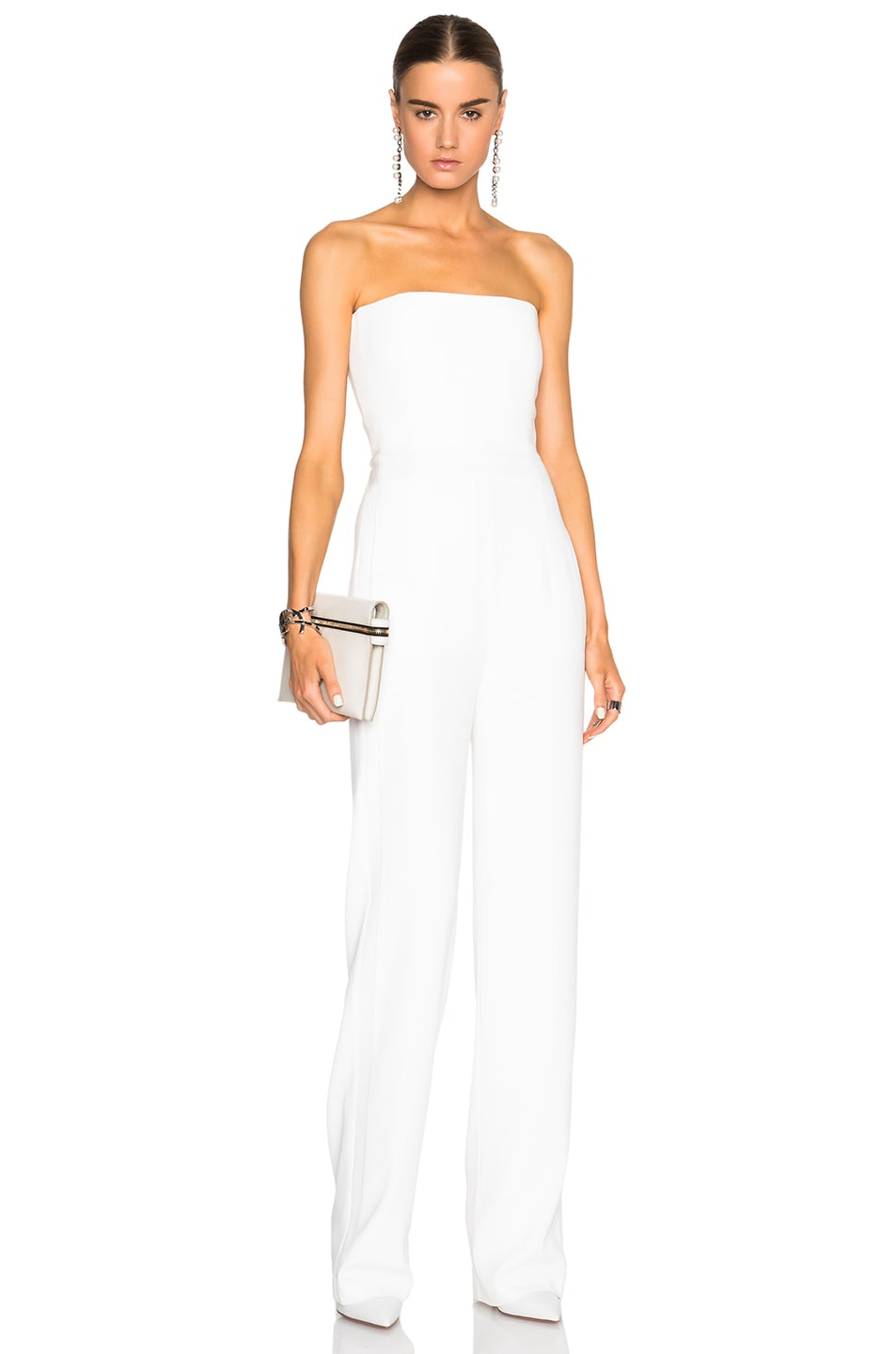 GALVAN Strapless Jumpsuit in White | FWRD