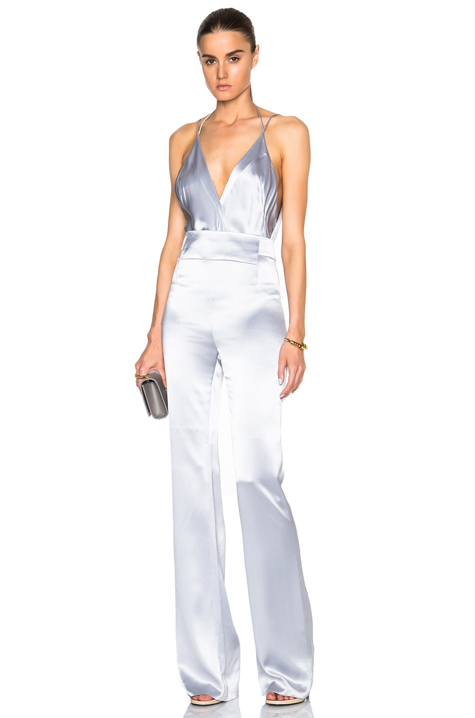 GALVAN Satin Plunge Neck Jumpsuit in Silver Grey | FWRD