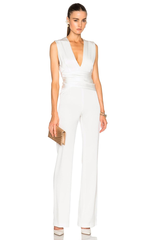 4ca23432465e Image 1 of GALVAN Satin Wrap Jumpsuit in White
