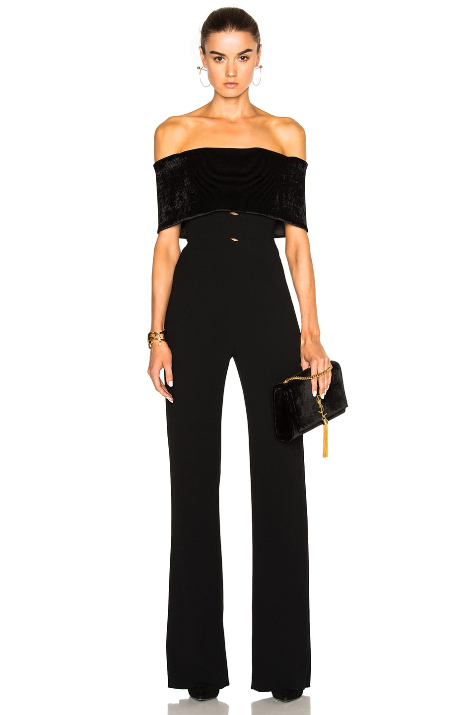 Galvan Velvet Off Shoulder Jumpsuit In Black Fwrd