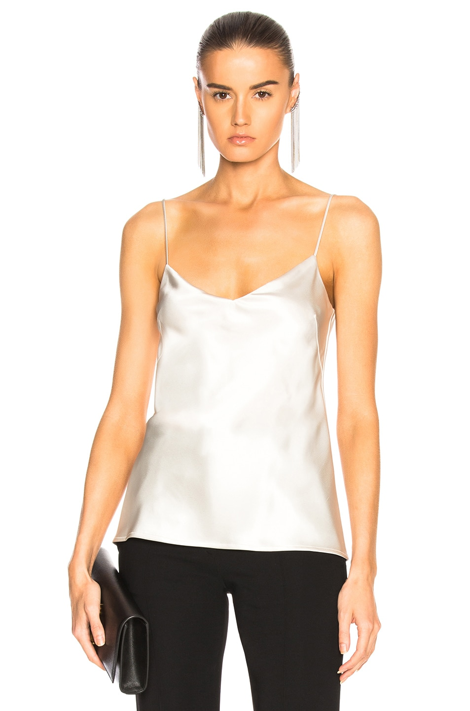Galvan GALVAN SATIN V NECK CAMISOLE TOP IN METALLICS