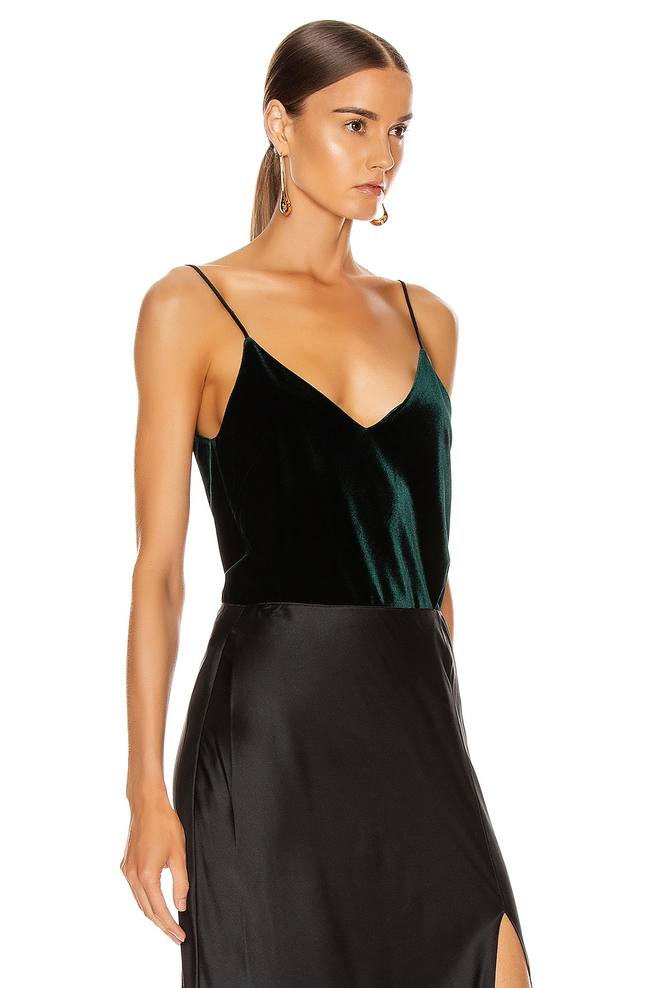 Image 2 of GALVAN Velvet Camisole Top in Dark Hunter Green