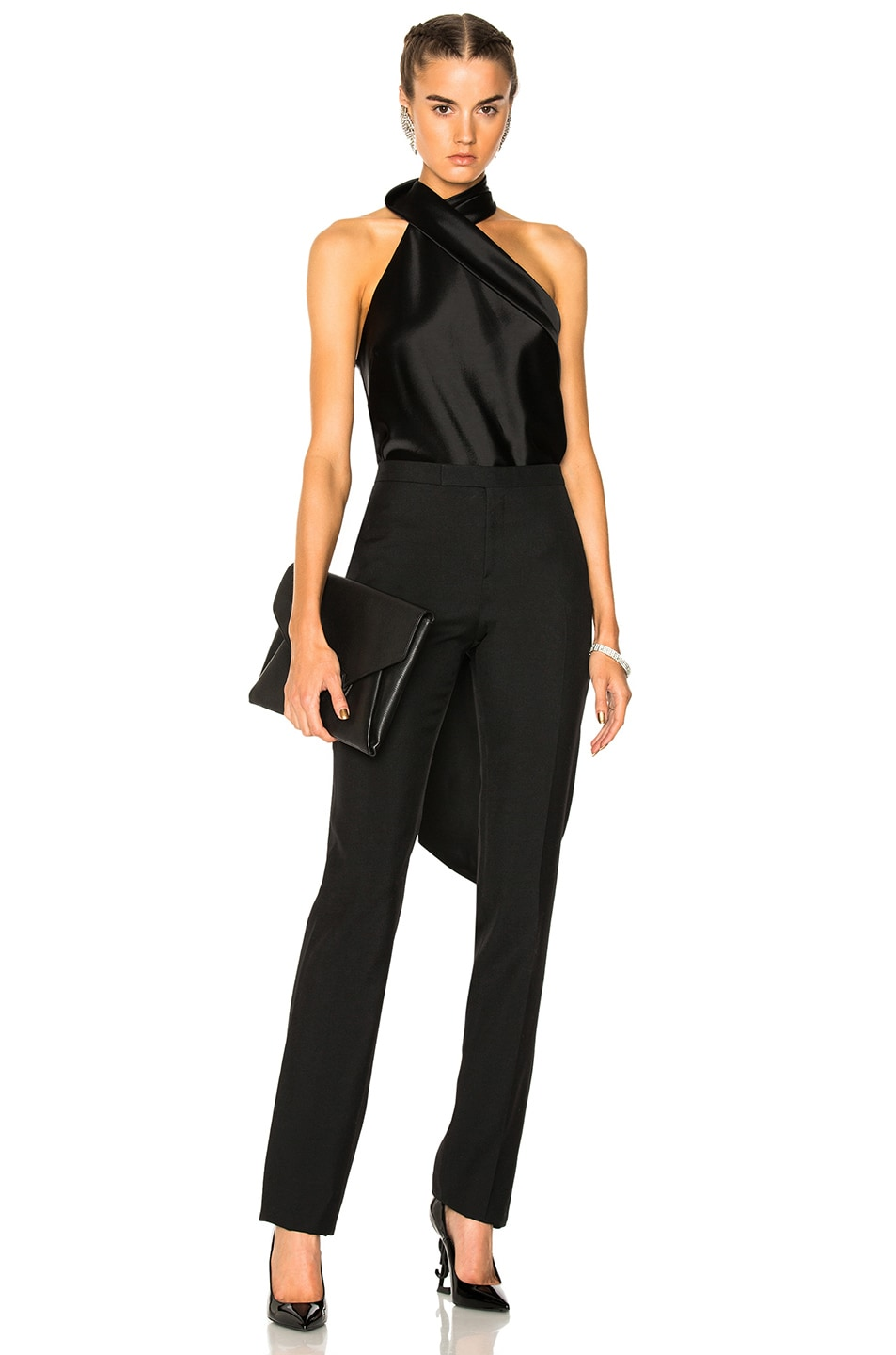 Twist Halter Neck Jumpsuit in Black