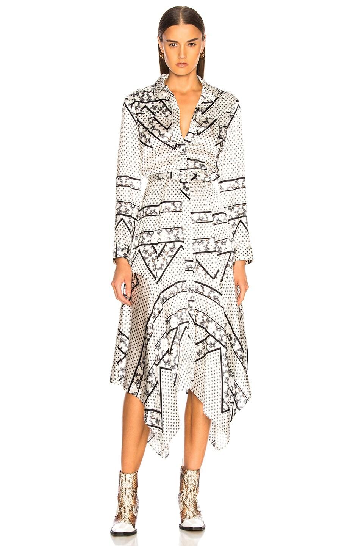 Image 2 of Ganni Silk Stretch Satin Dress in Egret