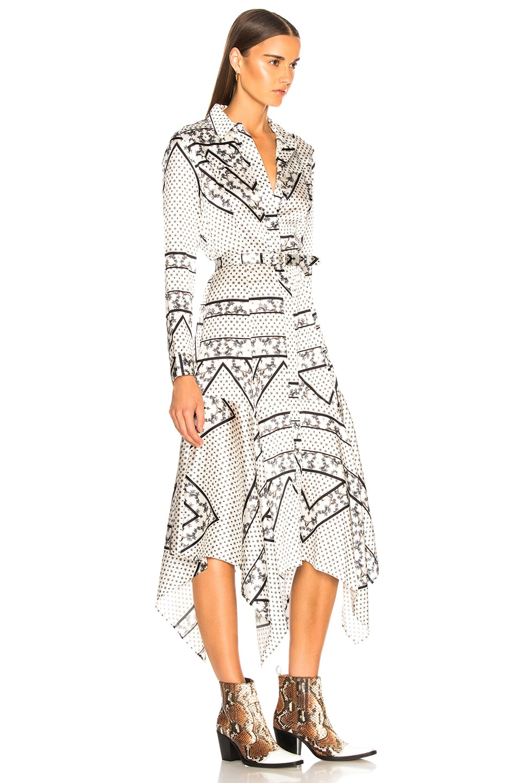 Image 3 of Ganni Silk Stretch Satin Dress in Egret
