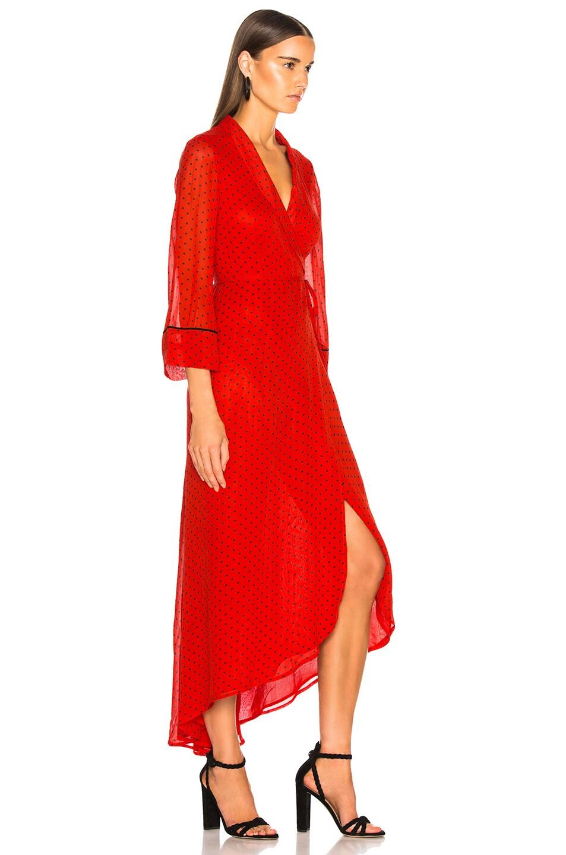 Image 2 of Ganni Printed Georgette Dress in Fiery Red