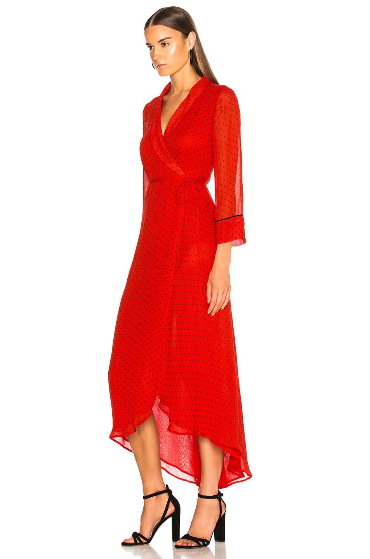 Image 3 of Ganni Printed Georgette Dress in Fiery Red