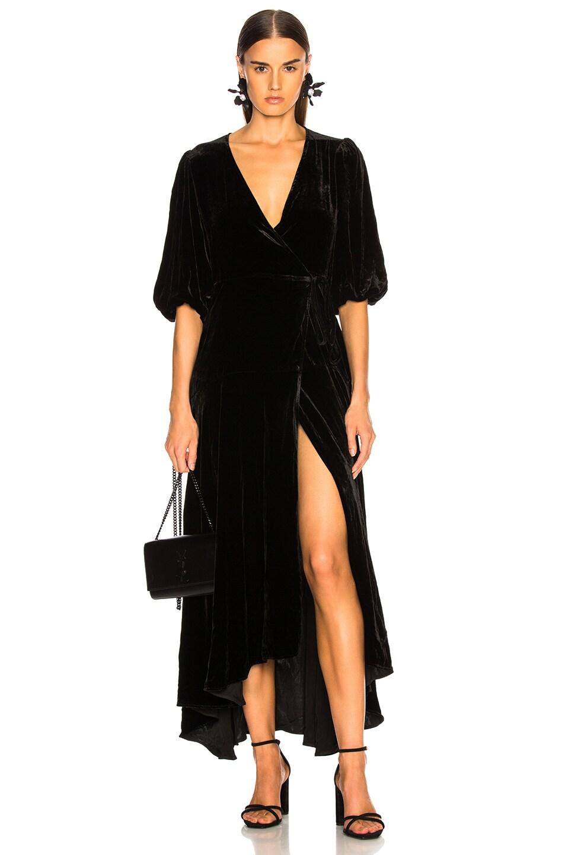 Image 1 of Ganni Silk Velvet Dress in Black