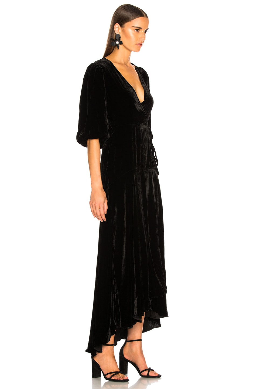 Image 2 of Ganni Silk Velvet Dress in Black