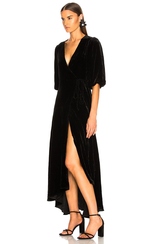 Image 3 of Ganni Silk Velvet Dress in Black