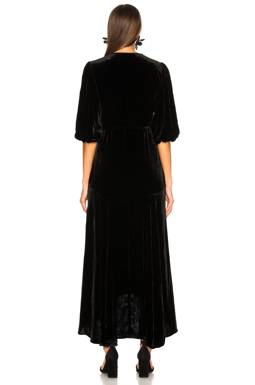 Image 4 of Ganni Silk Velvet Dress in Black