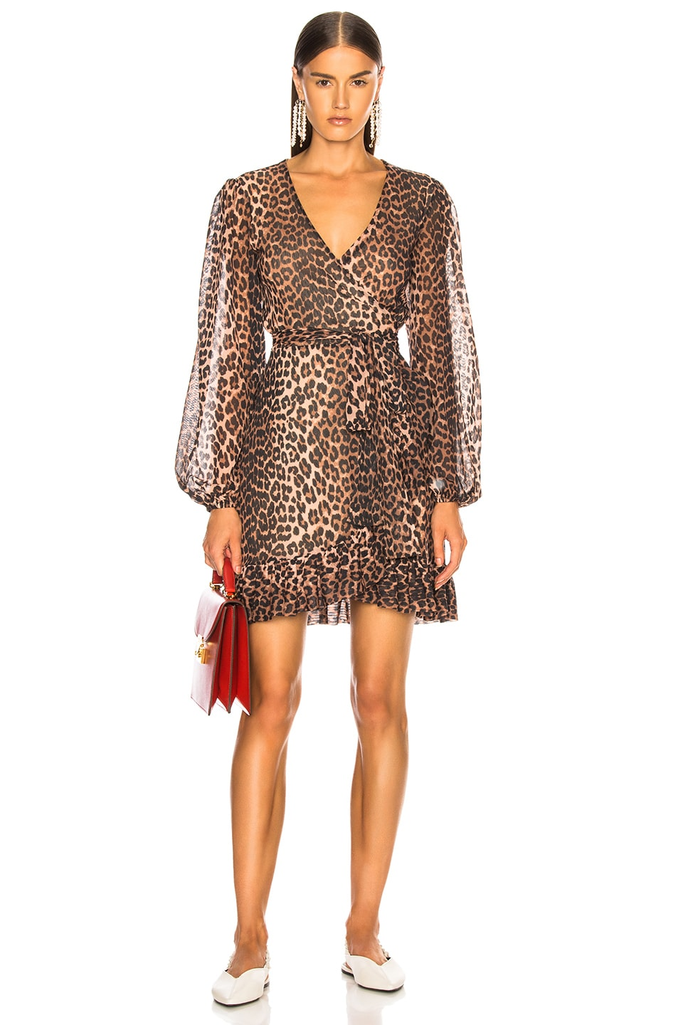 56114f31 Image 1 of Ganni Printed Mesh Dress in Leopard