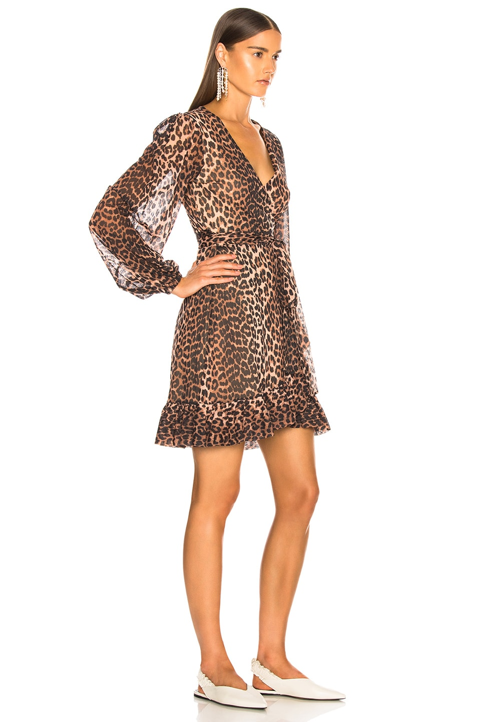 Image 2 of Ganni Printed Mesh Dress in Leopard
