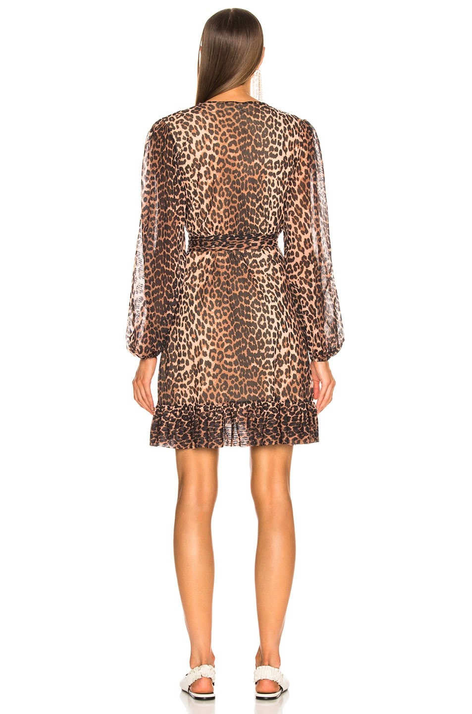 Image 3 of Ganni Printed Mesh Dress in Leopard