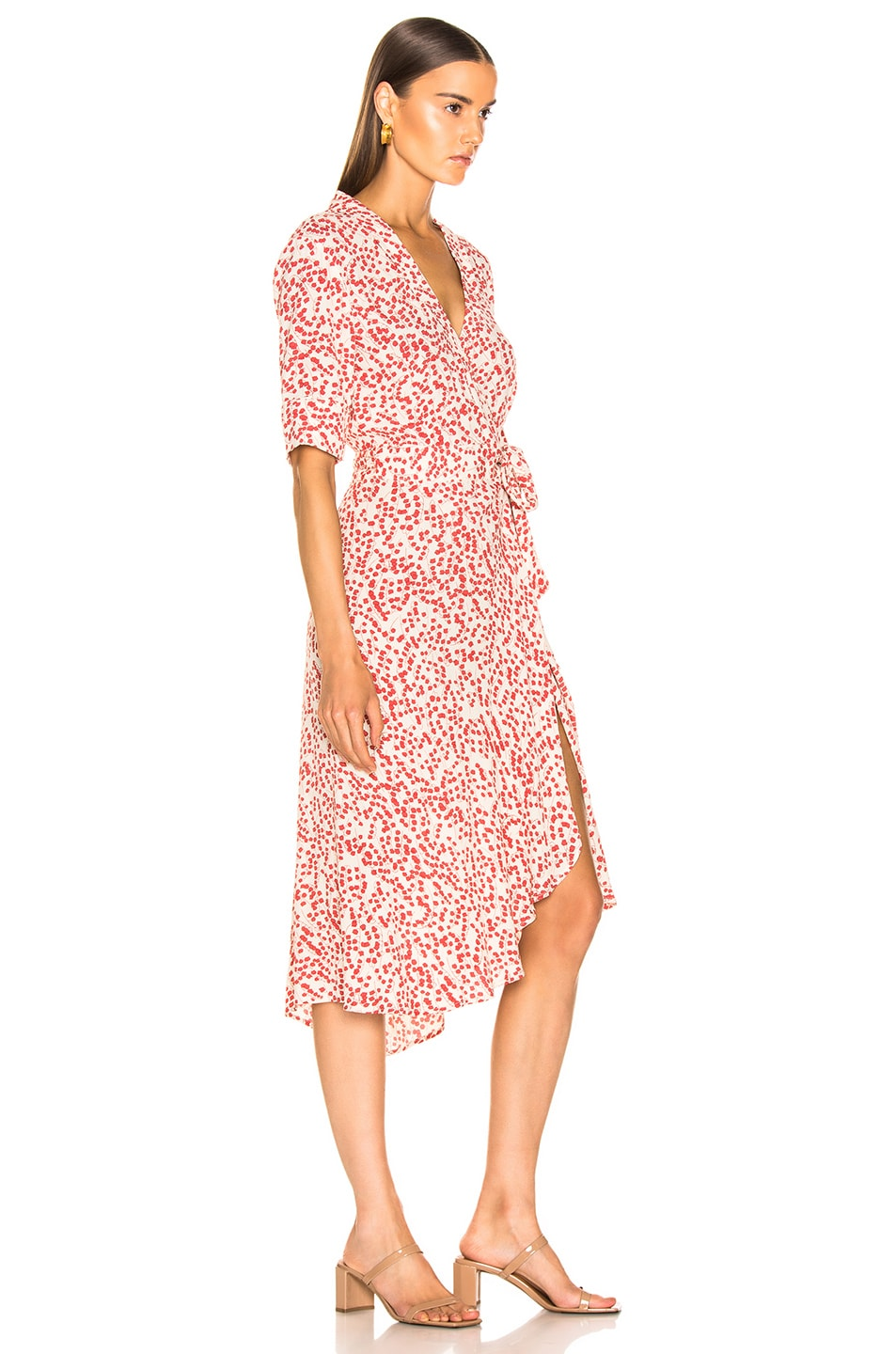 Image 2 of Ganni Printed Crepe Dress in Egret