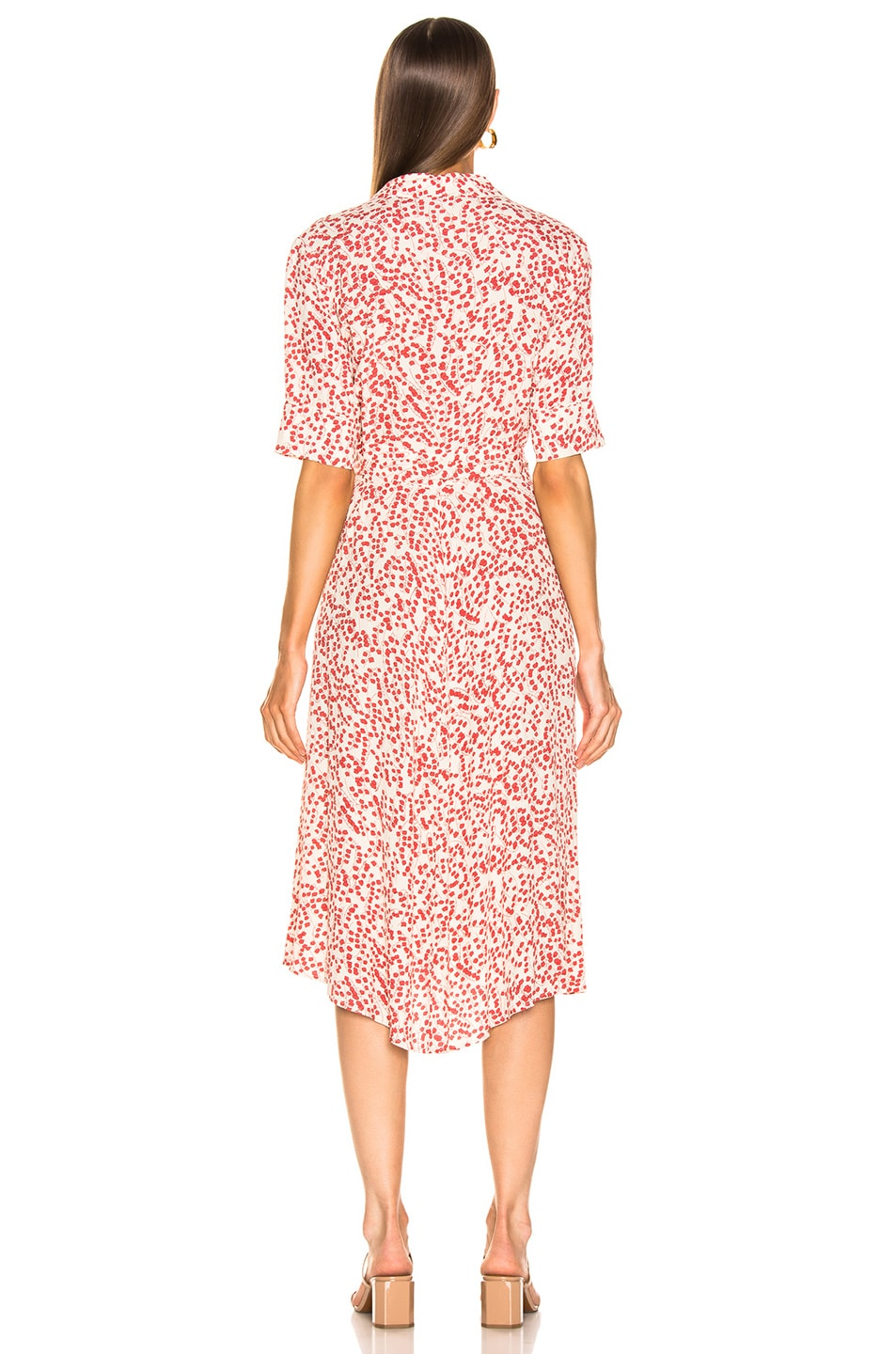 Image 3 of Ganni Printed Crepe Dress in Egret