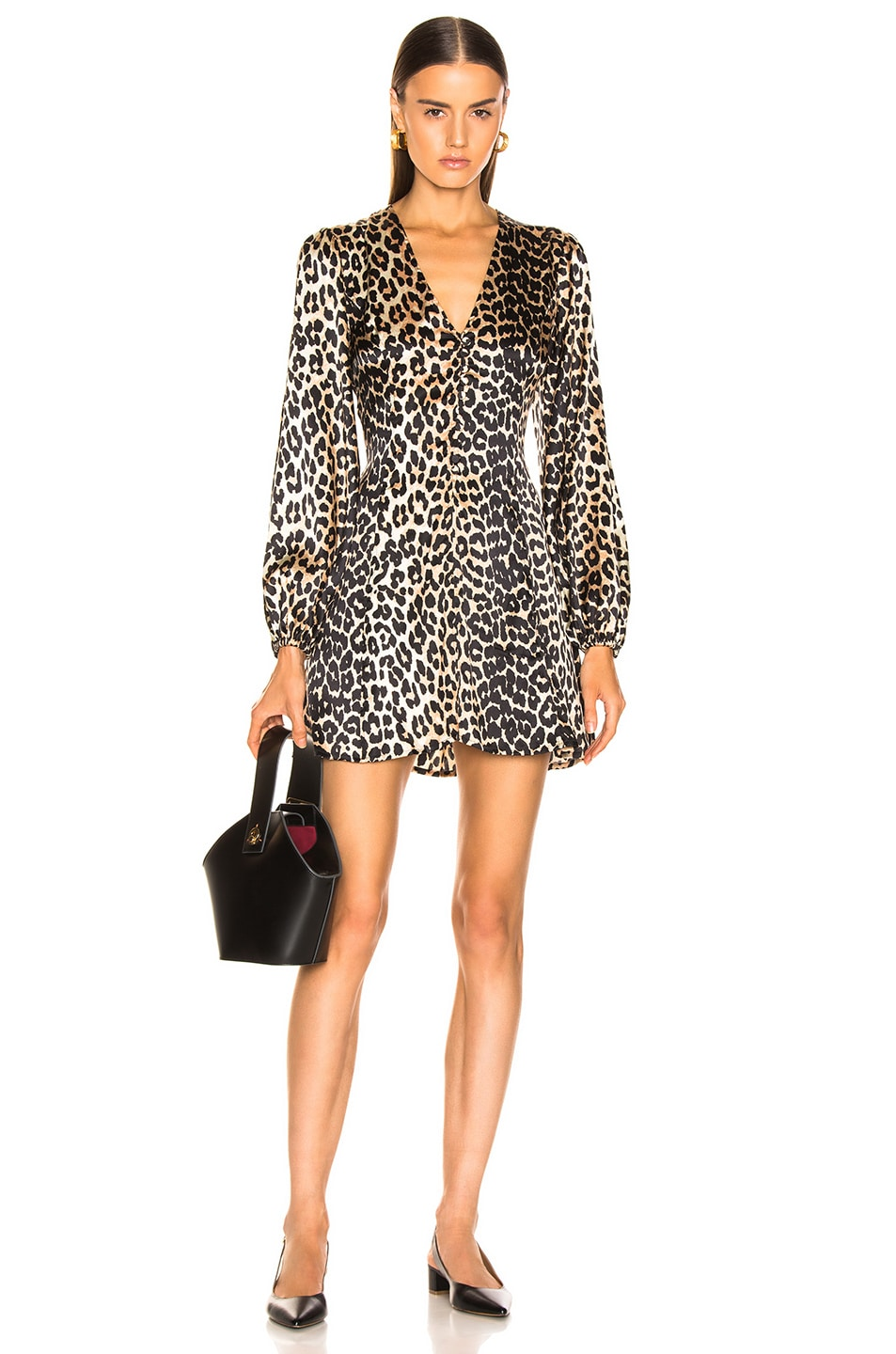 Image 1 of Ganni Blakely Silk Dress in Leopard