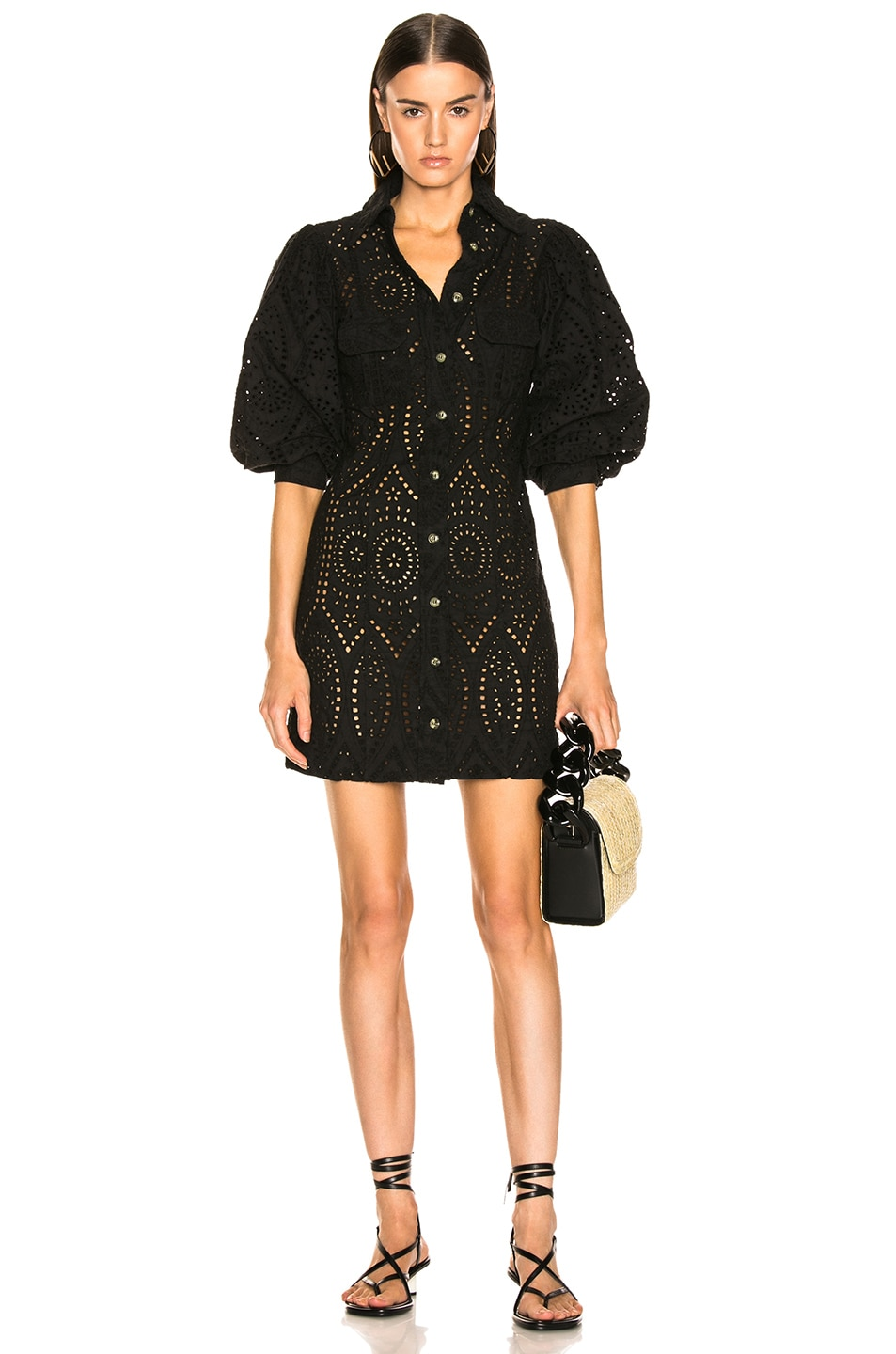 Image 1 of Ganni Broderie Anglaise Dress in Black