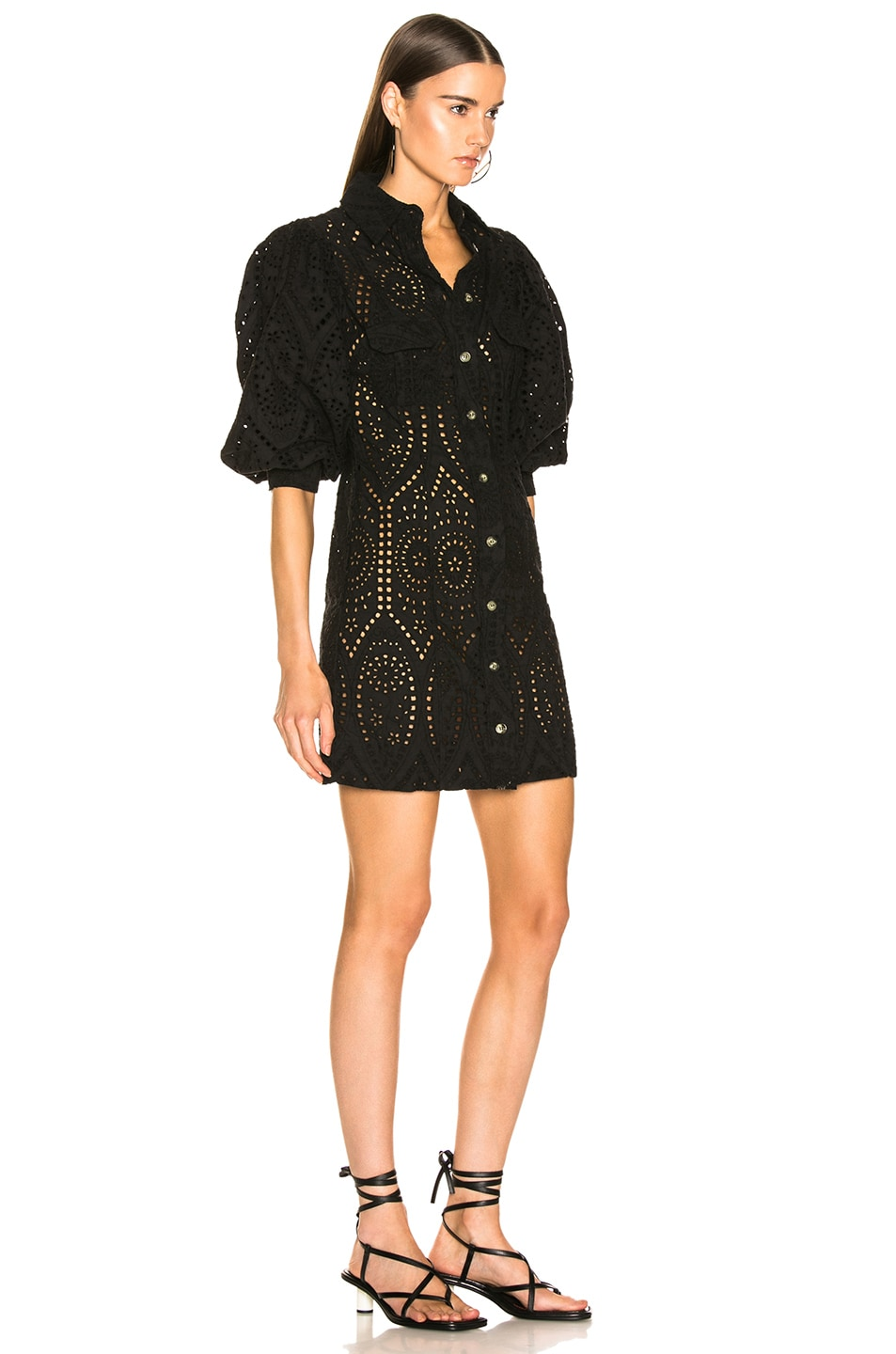 Image 2 of Ganni Broderie Anglaise Dress in Black