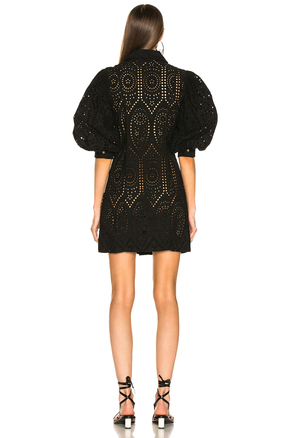 Image 3 of Ganni Broderie Anglaise Dress in Black