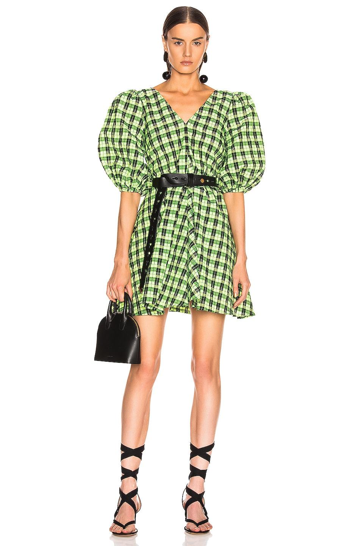 Image 1 of Ganni Seersucker Checker Dress in Neon Maze
