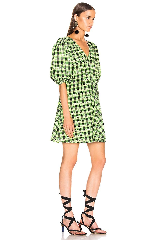 Image 2 of Ganni Seersucker Checker Dress in Neon Maze