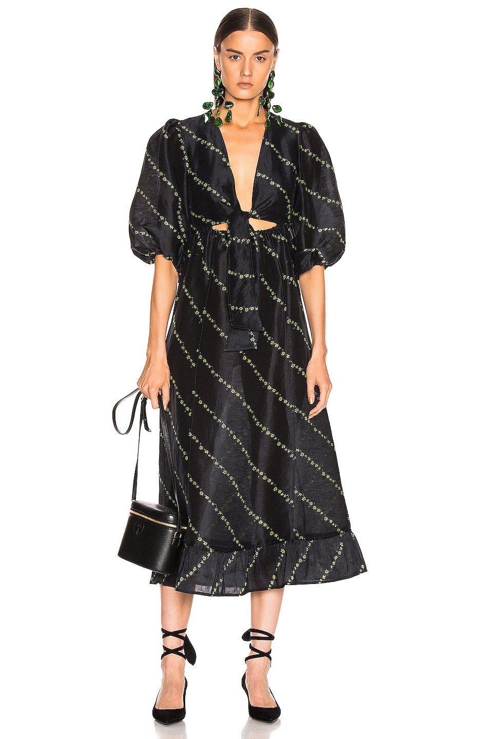 Image 1 of Ganni Silk Linen Dress in Black