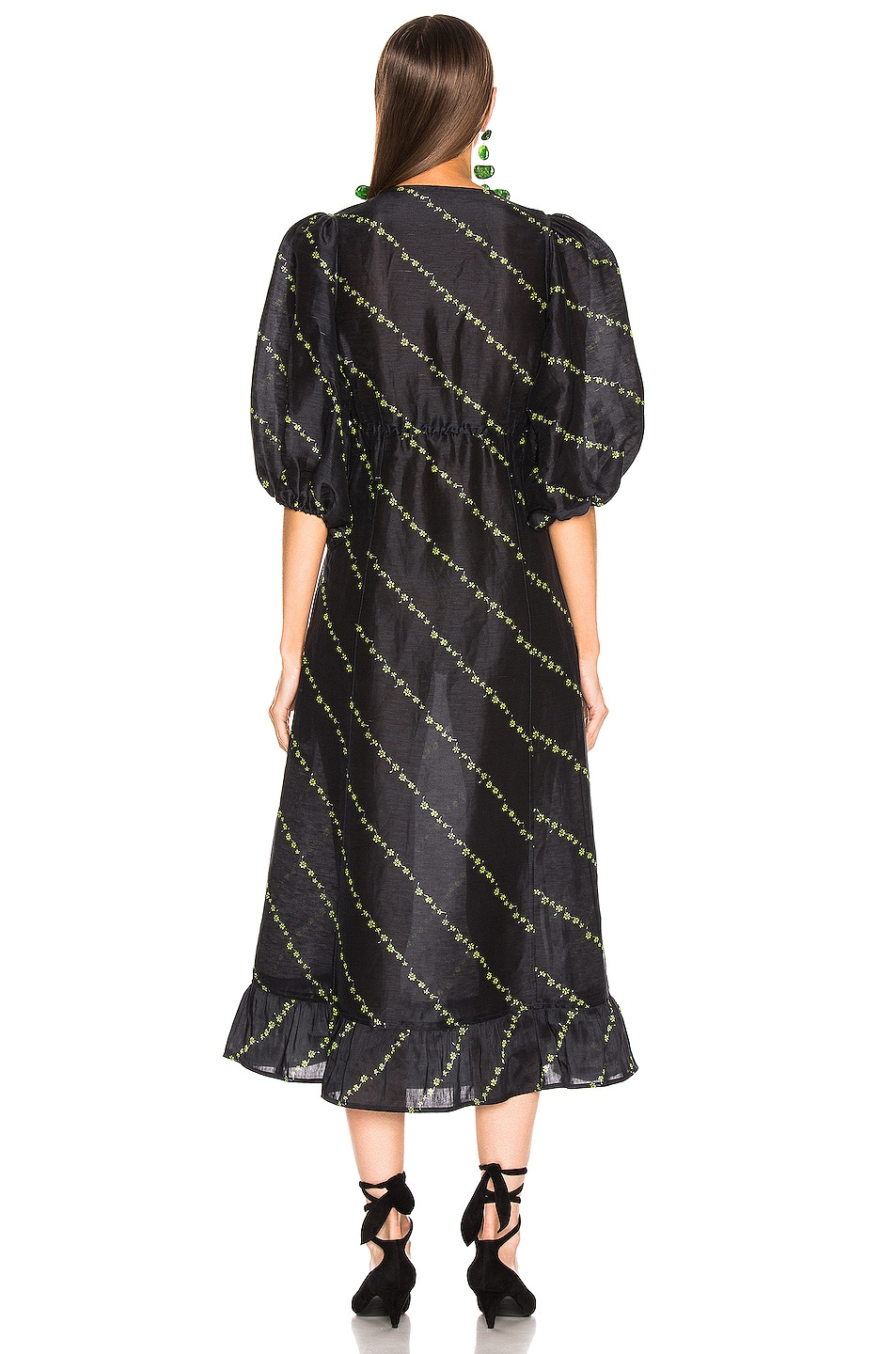 Image 3 of Ganni Silk Linen Dress in Black