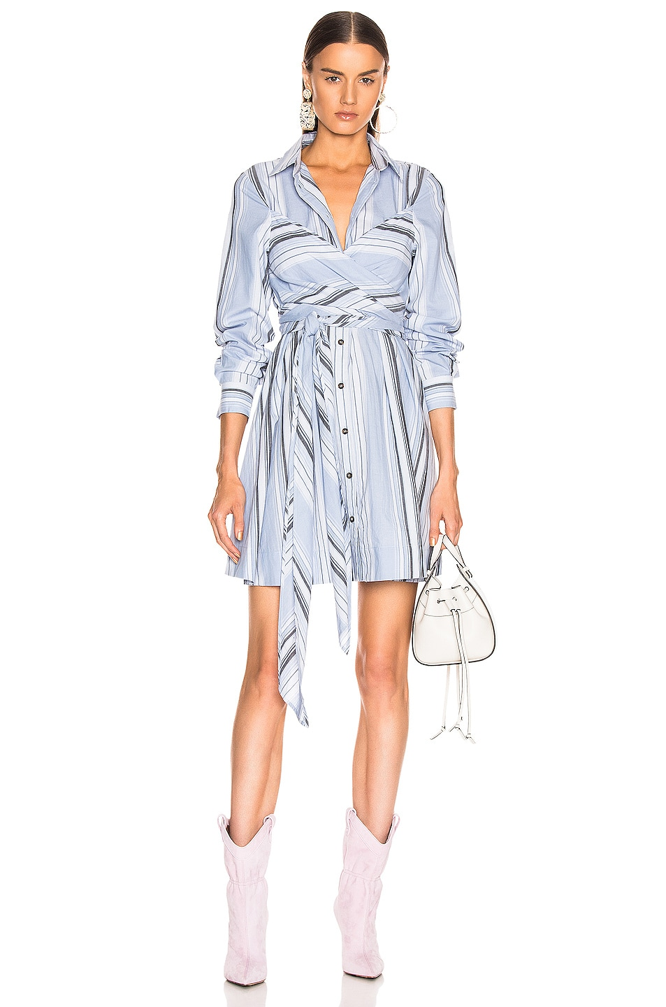 Image 1 of Ganni Light Cotton Stripe Dress in Forever Blue