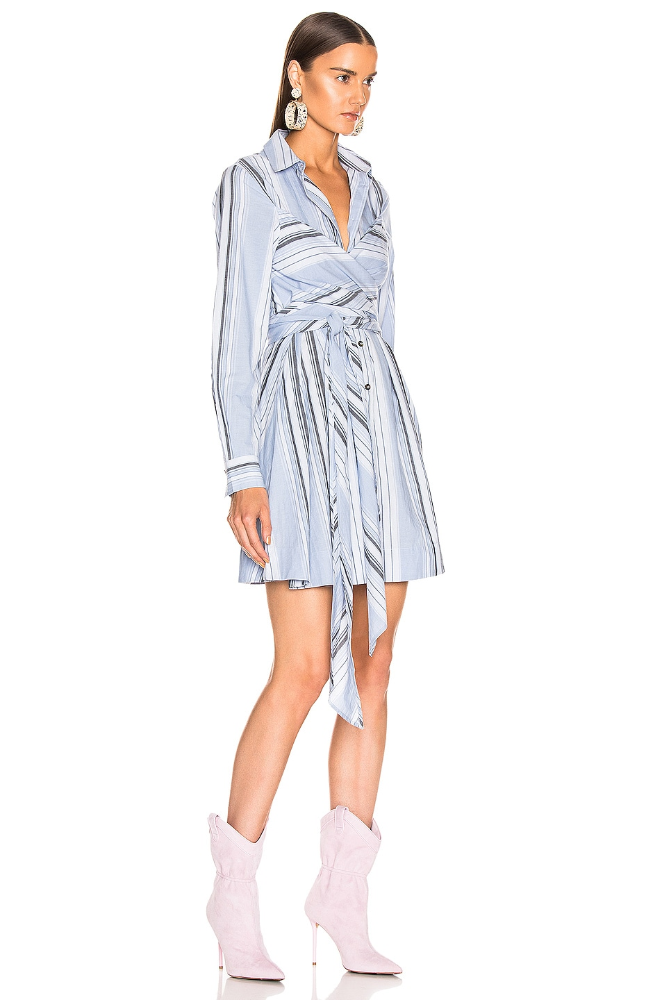 Image 2 of Ganni Light Cotton Stripe Dress in Forever Blue