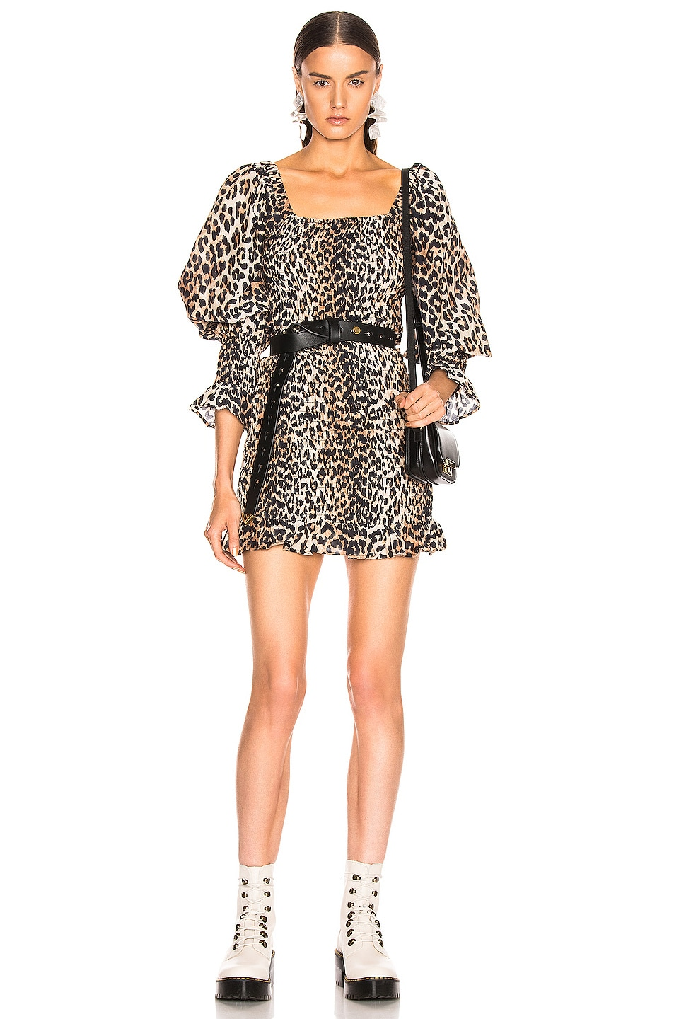 Image 1 of Ganni Cotton Silk Dress in Leopard