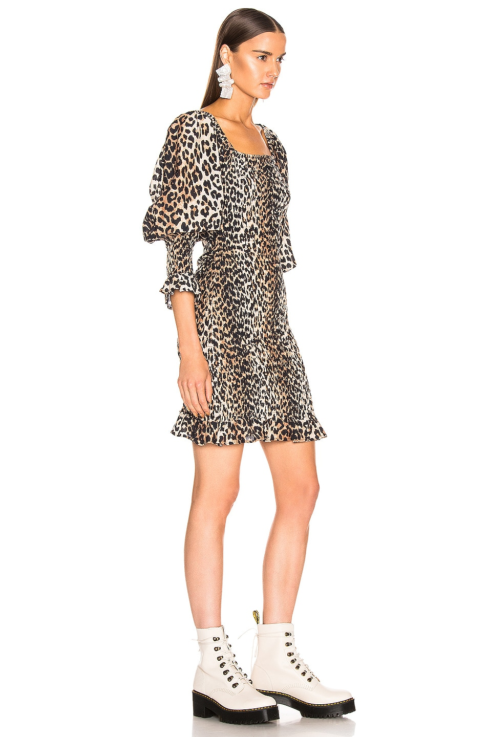Image 2 of Ganni Cotton Silk Dress in Leopard