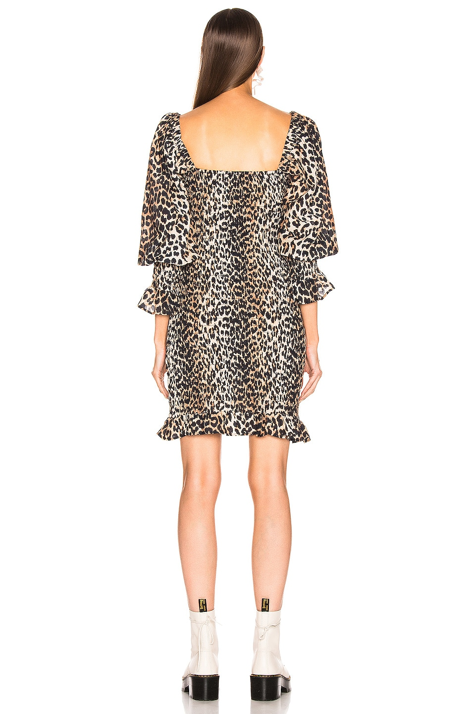 Image 3 of Ganni Cotton Silk Dress in Leopard