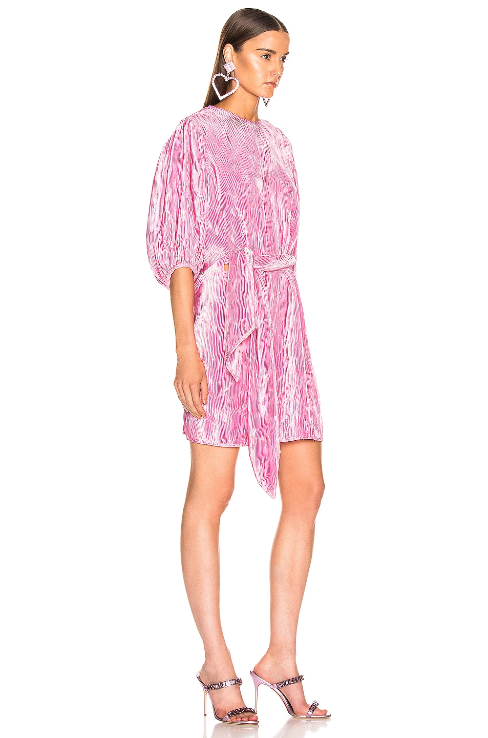 Image 2 of Ganni Pleated Satin Dress in Moonlight Mauve