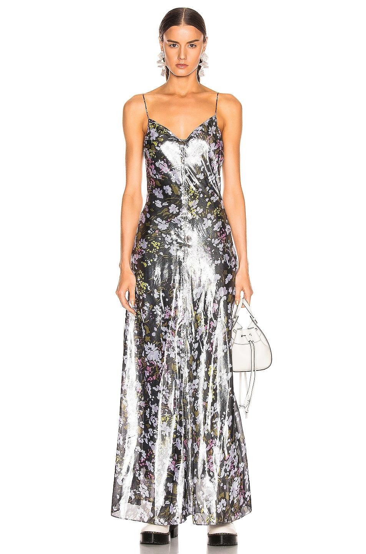 Image 1 of Ganni Lurex Silk Dress in Black