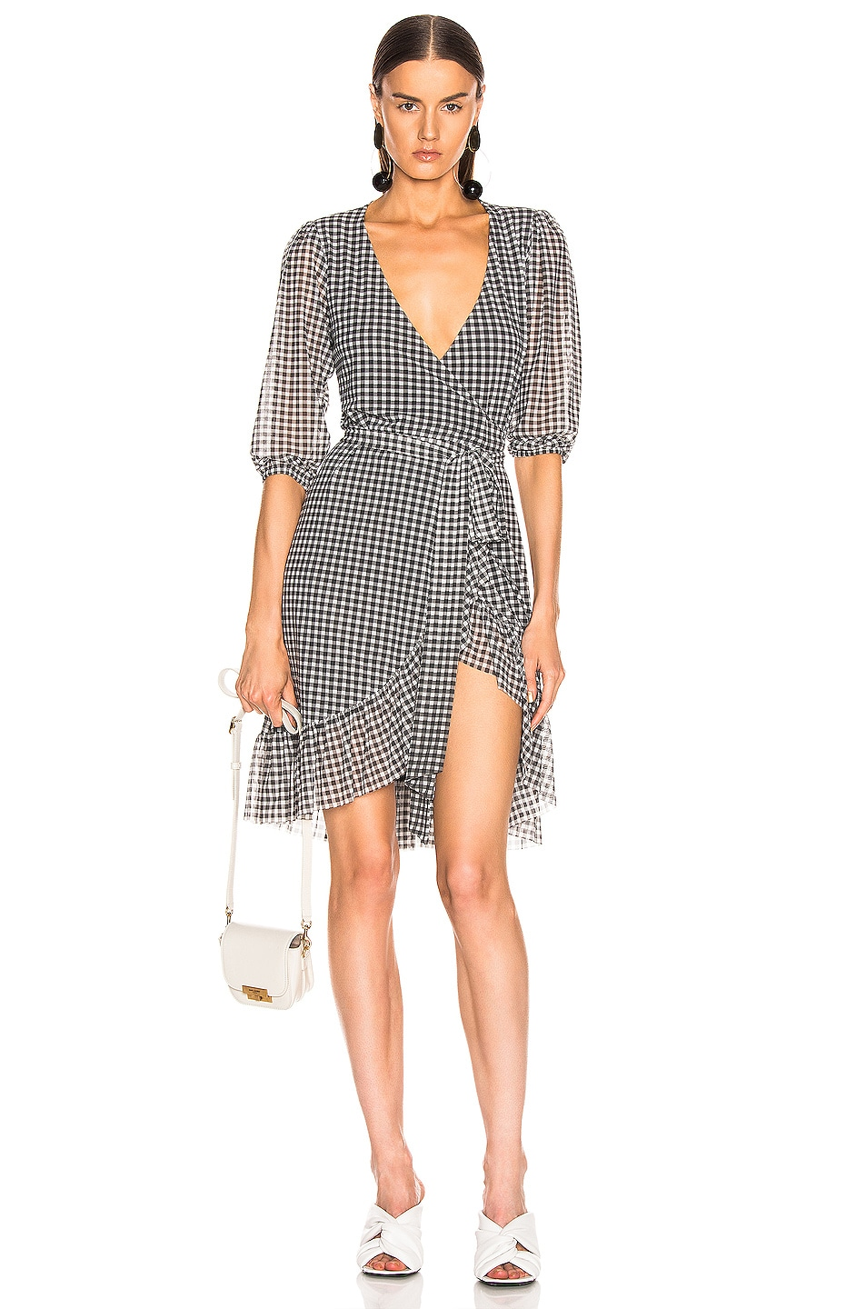Image 1 of Ganni Printed Mesh Wrap Dress in Black