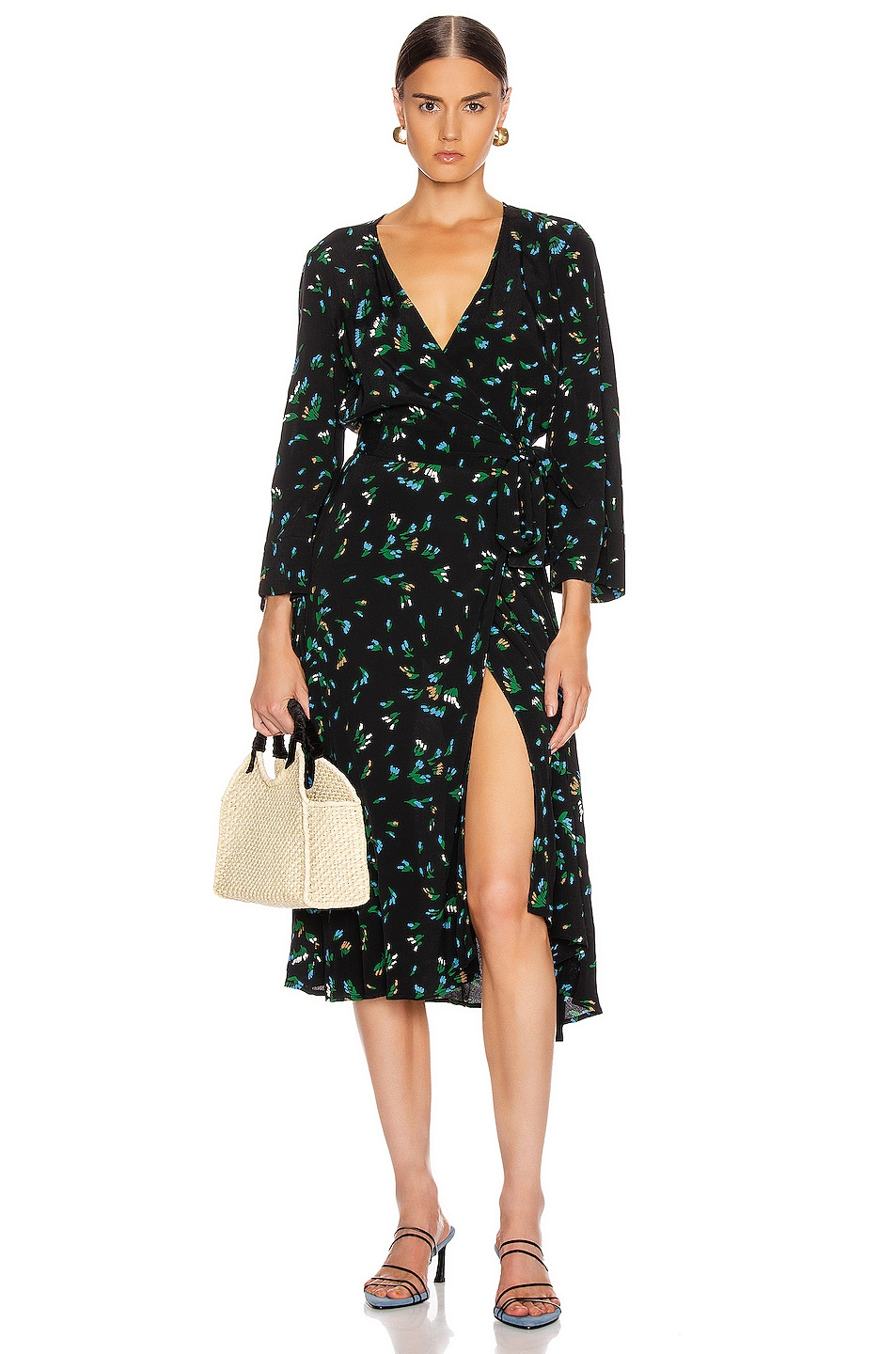 Image 1 of Ganni Printed Crepe Dress in Verdant Green