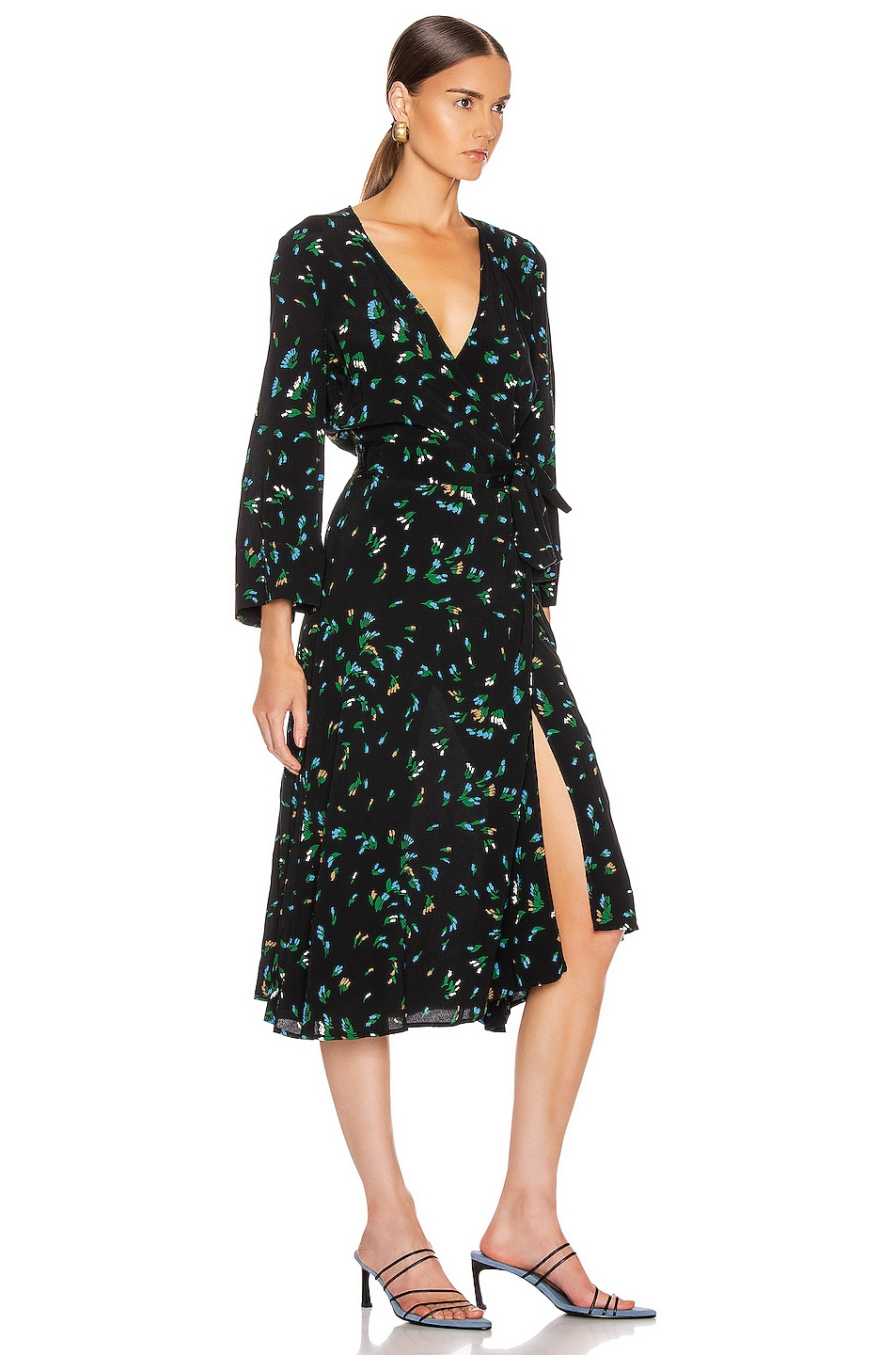 Image 2 of Ganni Printed Crepe Dress in Verdant Green