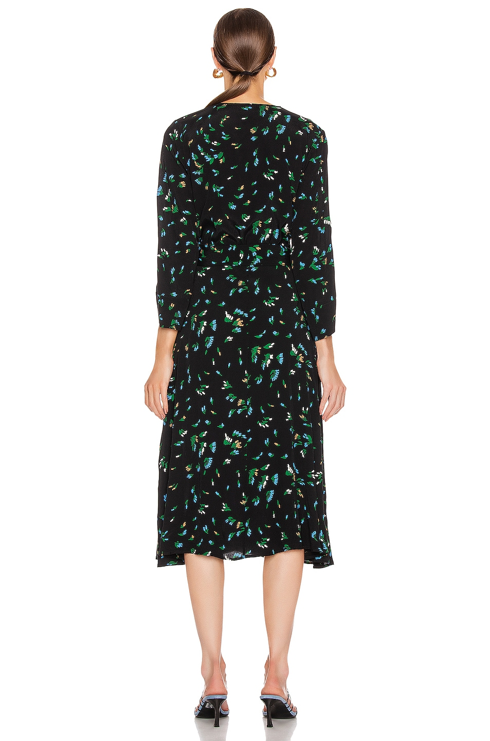 Image 3 of Ganni Printed Crepe Dress in Verdant Green