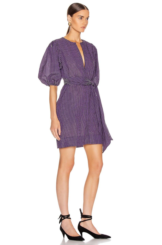 Image 2 of Ganni Seersucker Check Dress in Deep Lavender
