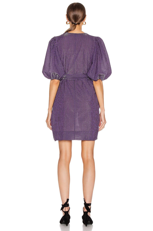 Image 3 of Ganni Seersucker Check Dress in Deep Lavender