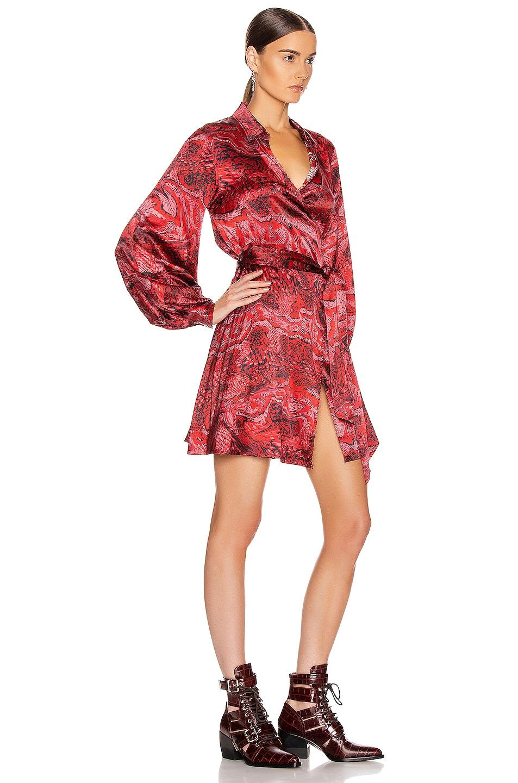 Image 2 of Ganni Silk Stretch Satin Mini Dress in Samba