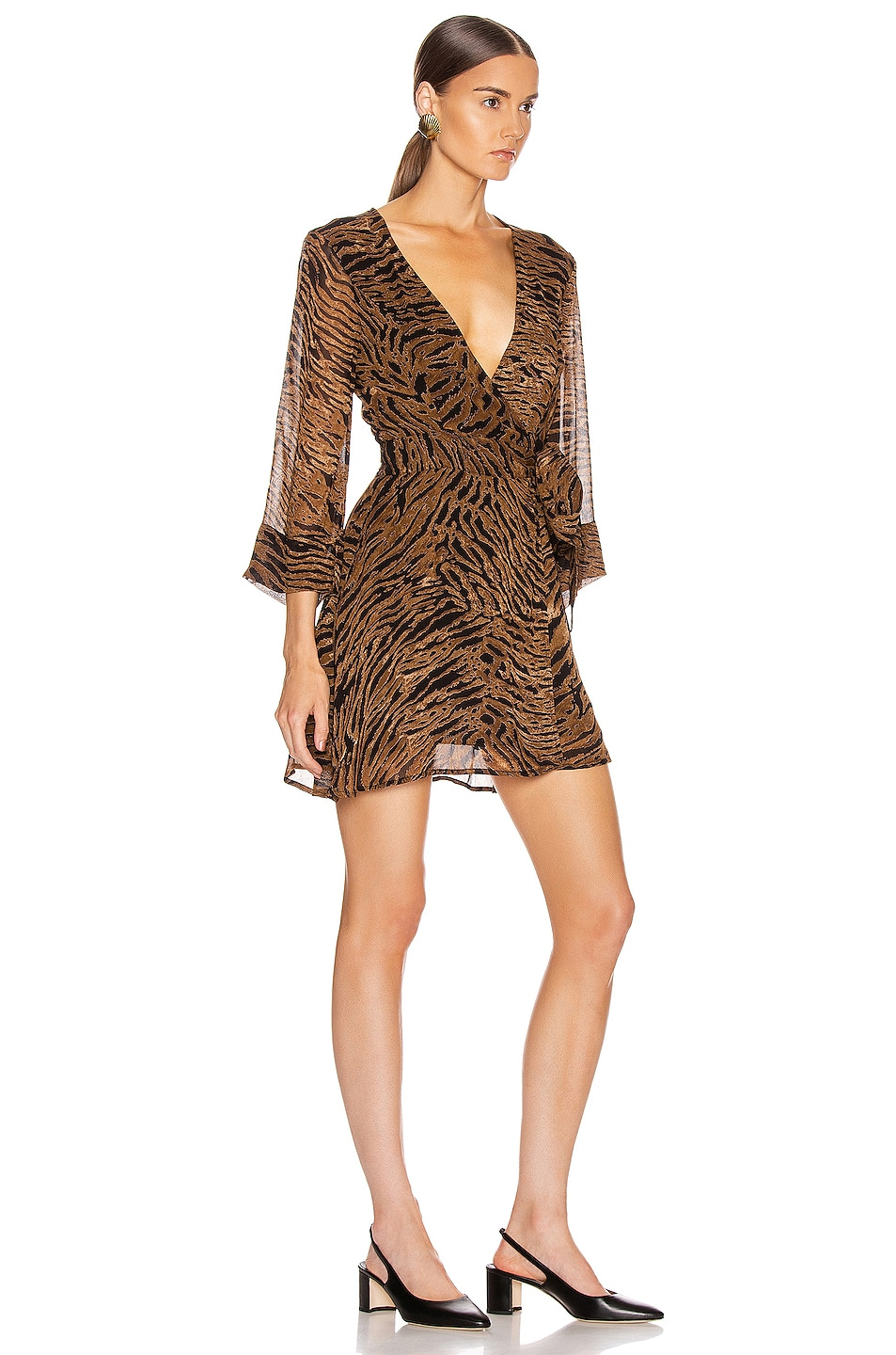 Image 2 of Ganni Printed Georgette Mini Dress in Tiger