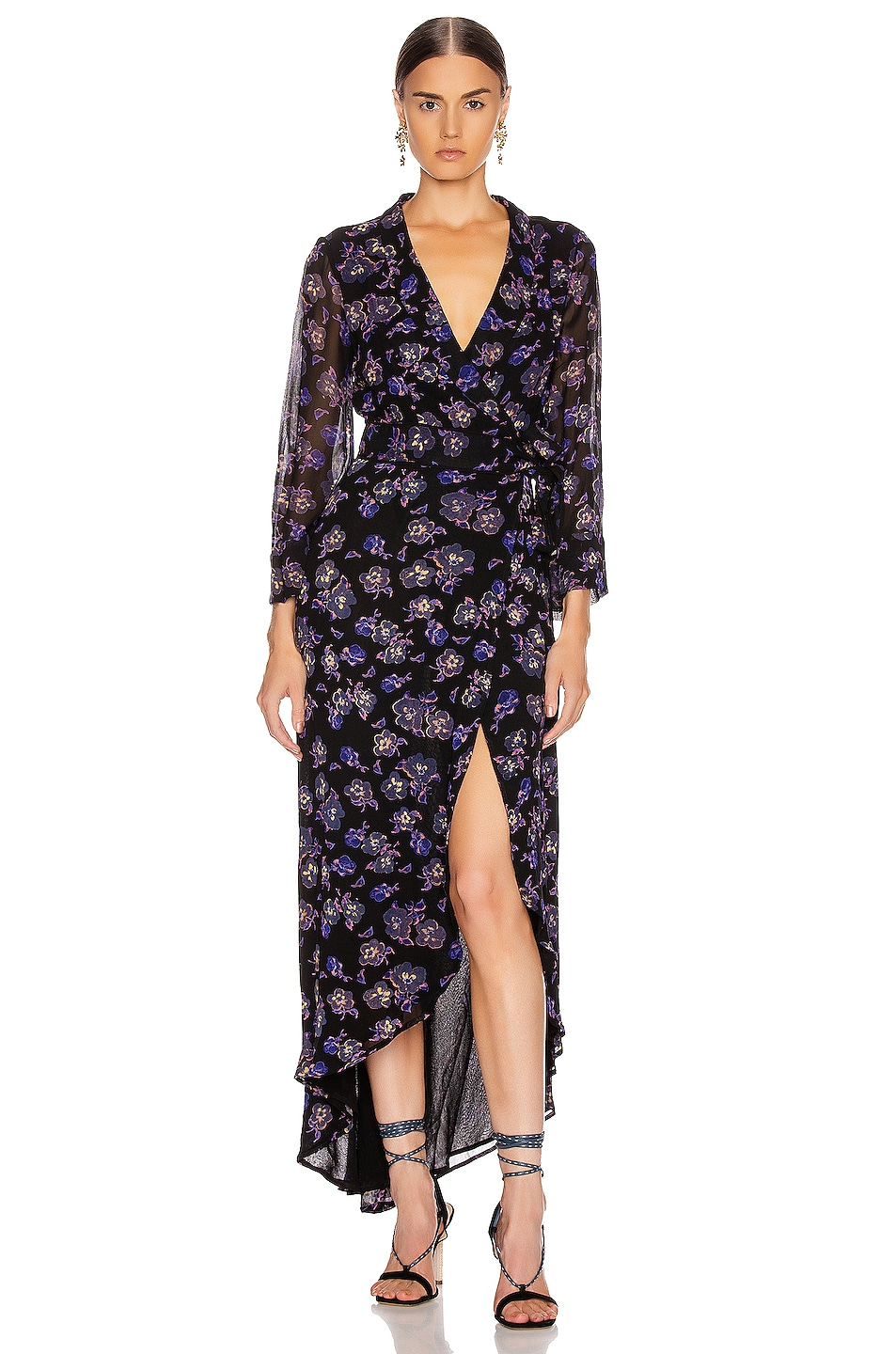 Image 1 of Ganni Printed Georgette Midi Dress in Black