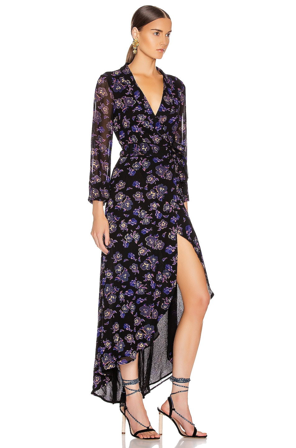 Image 2 of Ganni Printed Georgette Midi Dress in Black