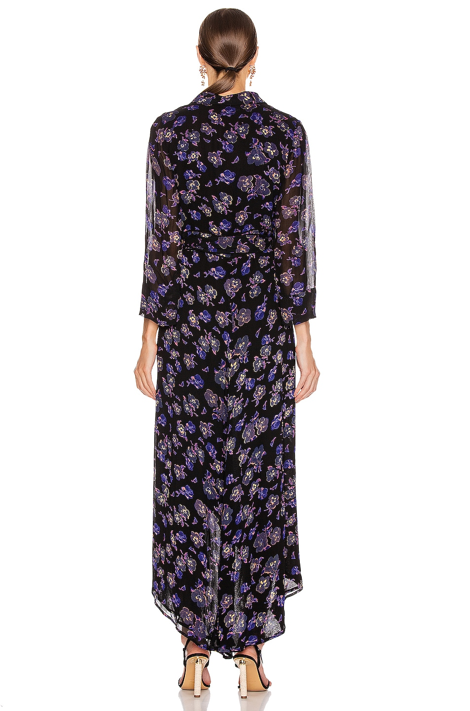 Image 3 of Ganni Printed Georgette Midi Dress in Black