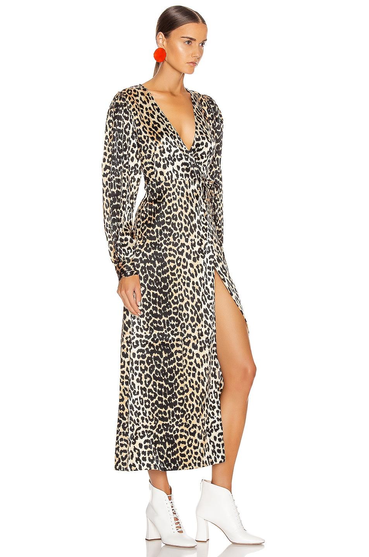 Image 2 of Ganni Silk Stretch Satin Dress in Leopard