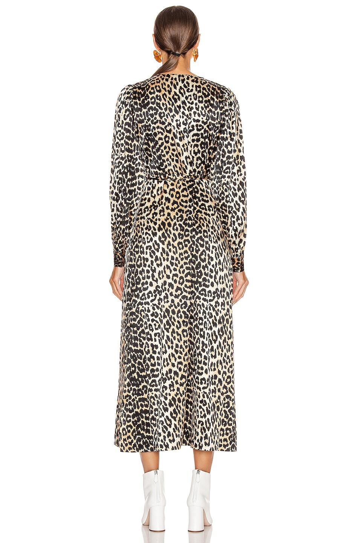 Image 3 of Ganni Silk Stretch Satin Dress in Leopard